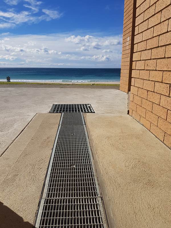 sabdrain 601 galvanised grate and polypropylene channel installed at mollymook